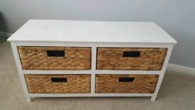 White and raffia small chest of drawers