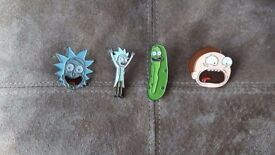 Rick and Morty high quality enamel pins! Pickle rick, tiny rick, drunk rick and screaming morty!