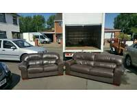 3 + 2 seater sofa in brown leather mint mint condition