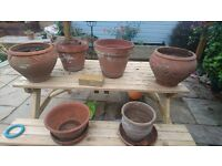 5 large terracotta clay pots vintage