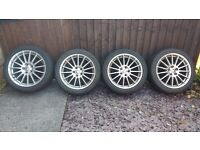 * GENUINE JAGUAR 17 INCH LIBRA ALLOY WHEELS + CENTRE CAPS + 225 45 17 PIRELLI TYRES * SUPERB *