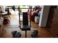 Bench press with weights and bar/ dumbbells