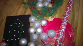 Christmas bundle £5 for all wreath new Scotty dog wrapping paper balls baubles cake tray tree server