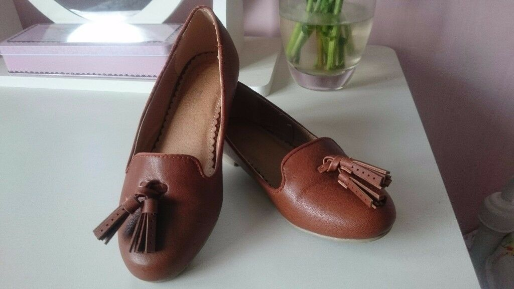 Girls TU Tan Loafers with Tassels - Size 12