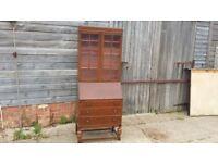 Vintage Oak Bureau Bookcase Desk.