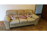Cream leather sofa with foot stool