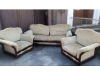 Vintage three piece suite sofa and two armchairs floral olive green