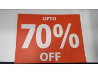 BRAND NEW JOBLOT OF 10 X SIGNS 5 x SALE NOW SIGN + 5 X 70% OFF SIGN