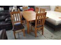 NEW Julian Bowen Astoria Extending Oak Dining Table & 6 Astoria Dining Chairs **CAN DELIVER**