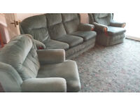 light green draylon 3 seater sofa and 2 armchairs