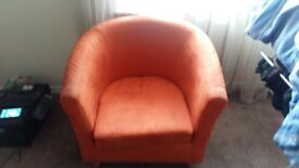 2 single tangerine sofas - free- for collection only