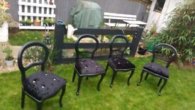 CHAIRS BLACK FAUX CRUSHED VELVET & BUTTON DIAMANTE DINING CHAIRS