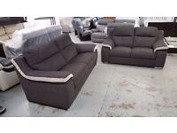 ScS SiSi ITALIA MATTEO GREY & CREAM FABRIC 3 Seater & 2 Seater Sofa **CAN DELIVER**