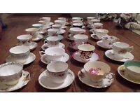28 vintage tea cups and saucers (mismatch) wedding party tearoom