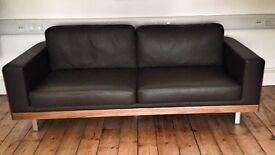 Dwell Firenze leather three seat sofa
