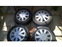4 x 14 inch Fiesta Alloy Wheels each has tyres in good condition