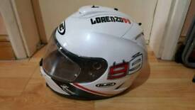 HJC lorenzo 99 motorcycle helmet Size XL (used but not dropped)