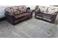 LYNX BROWN/GOLD FLORAL 3 SEATER £399 PLUS 2 SEATER FREE !! BRAND NEW HAND MADE SOFA AMAZING QUALITY