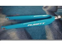Planet X Stealth Pro Carbon Time Trial Fork in Guru Blue for road bikes (700c wheel) new