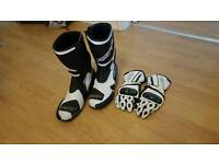 Bike boots rct & gloves white/black
