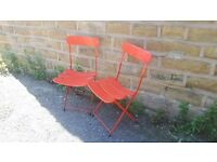 Pair / Set of Two 2 Vintage Retro Folding Metal Garden Chairs Red Slatted