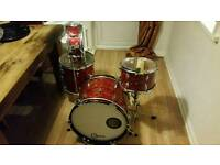 Vintage red pearl 1966 jazz bop 4 piece drum kit