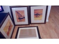 Picture Frames 4 large frames in dark bronze /dark copper with cream mount. 3 include African prints
