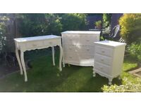 "Beautiful three piece ""french style"" bedroom furniture for sale. Excellent condition."