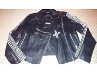 Miss Guided Brand New Black Rare Leather Jacket UK 12