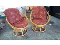 2 Bamboo chairs.