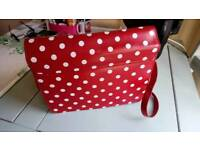 New red/white spotted satchel