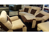 EX-DISPLAY BROWN/CREAM JUMBO CORD SUEDE CURVED CORNER+ARMCHAIR POWER RECLINERS