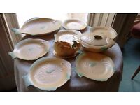 Vintage 1930's Shorter & Sons Fish Plate Set including 6 plates, platter, lid dish and sauce boat.