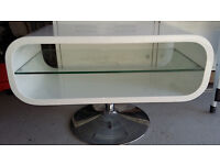 Retro style oval high gloss white TV stand