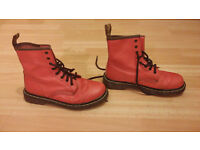 Ladies Pink Red Womens Doc Dr Martens DM 8 Eye Boots - Size 5