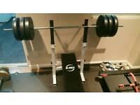 Weight bench, bar, 60kg of weight