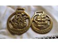 Pair of Horse Brasses - Padstow & Plymouth Mayflower
