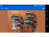 Ping G Series Irons, 5 to PW, Regular AWT Shafts, Green Dot lie angle, 2.25 degrees upright.