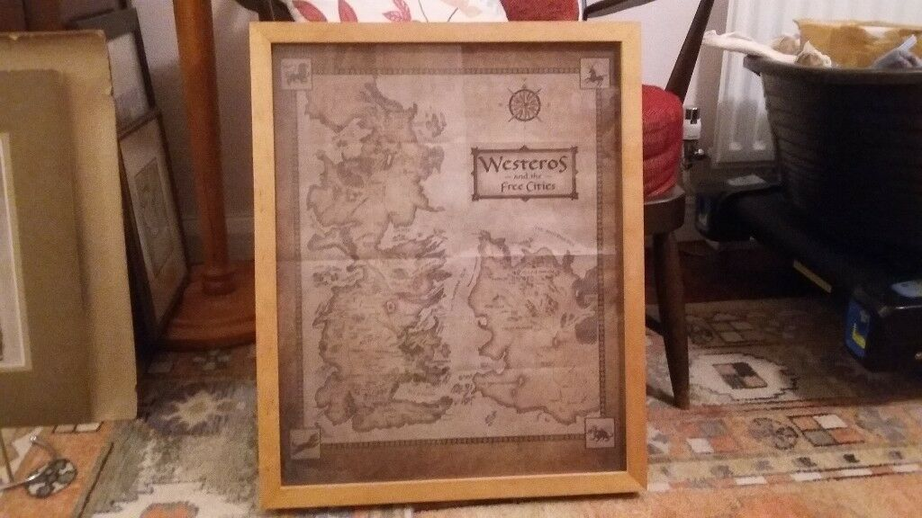 Contemporary Game Of Thrones Framed Map Gallery - Picture Frame ...