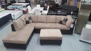 Warehouse direct  sale Get Corduroy  SECTIONAL WITH STORAGE OTTOMAN ONLY $698 IN STOCK  LOWEST PRICE MATTRESSES FROM $45
