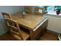 Hardwood table with six chairs
