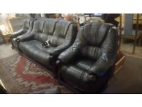 Lovely dark green leather 3 piece suite, solid wood frame £325 DELIVERY extra Stalybridge SK15 3DN