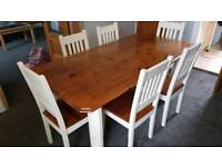 Solid Pine and white painted dining table with 6 chairs