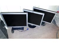 5 OLD LCD SCREENS ALL CABLES INCLUDED