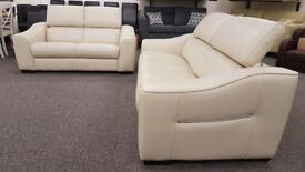 Ex Display Furniture Village Elixir 3 & 2 Seater Cream Leather Sofas **CAN DELIVER**