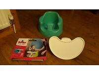 AS NEW BABY BUMBO GREEN SEAT with BRAND NEW BOXED PLAY TRAY NEVER USED