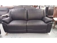 ScS Leo Black Leather 3 Seater Manual Recliner Sofa **CAN DELIVER**