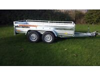 New car trailer twin axle with brakes and cover 300 cm x 150 cm (10 x 5) 2700 kg