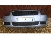 Silver mk 1 audi tt front bumper with all grills.no damage.ready to bolt on.