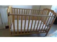 Mamas and Papas Melodie Cot natural wood in nearly new condition